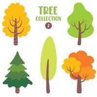 conjunto de várias árvores planas vetor