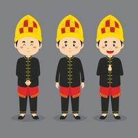 Aceh personagem indonésio com várias expressões vetor