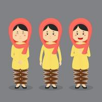 personagem indonésio de Jacarta com várias expressões vetor
