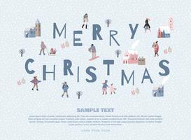 Pessoas de whit de ilustração de Natal e feliz ano novo. vetor