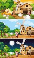 diferentes cenas de fazenda com um velho fazendeiro e um animal vetor