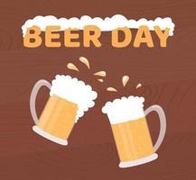dia da cerveja. cartaz de vetor de férias. duas canecas de cerveja em fundo de madeira