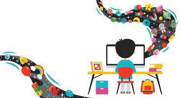 conceito de tecnologia da computação para educação e negócios vetor