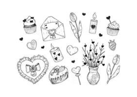 conjunto de elementos de design de dia dos namorados mão desenhada. ilustração vetorial em estilo de desenho vetor