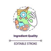ícone do conceito de qualidade do ingrediente. comer alimentos orgânicos. preparar a refeição com alimentos naturais. ilustração de linha fina de ideia abstrata de vida saudável. desenho de cor de contorno isolado vetor. curso editável vetor