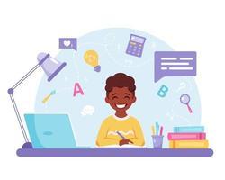 menino afro-americano, estudando com o computador. aprendizagem online, de volta ao conceito de escola. vetor