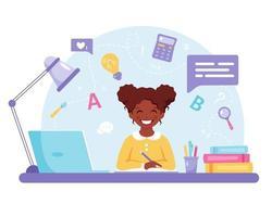 garota afro-americana, estudando com o computador. aprendizagem online, de volta ao conceito de escola. vetor