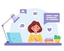menina estudando com o computador. aprendizagem online, de volta ao conceito de escola. vetor