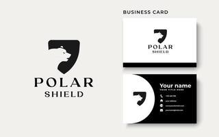 Modelo de logotipo de escudo de urso polar isolado em fundo branco vetor