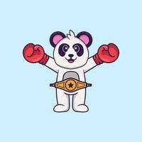 panda fofo em traje de boxer com cinto de campeão. conceito de desenho animado animal isolado. pode ser usado para t-shirt, cartão de felicitações, cartão de convite ou mascote. estilo cartoon plana vetor
