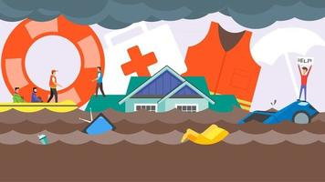 conceito de resgate de desastres de inundação. água inundando na rua da cidade. equipe do barco de resgate ajudando as pessoas. humano com ajuda me banner no telhado da casa. ilustração em vetor design plano.