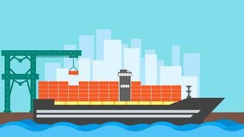 contêiner de navio de carga. logística de transporte marítimo marítimo. transporte marítimo frete transporte entrega. logística portuária do armazém. ilustração em vetor estilo simples.