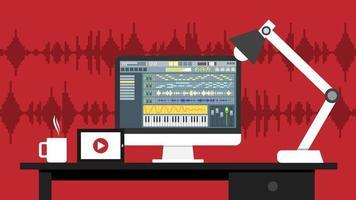 local de trabalho do aplicativo de software de interface de editor de som e vídeo no monitor do computador. processo de gravação e edição com display digital wave e botões na tela. ilustração vetorial. vetor