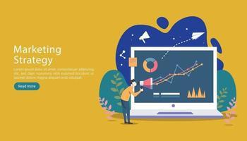 conceito de estratégia de marketing digital com personagens minúsculos, mesa, objeto gráfico na tela do computador. marketing de mídia social on-line design plano moderno para página de destino e modelo de site para celular vetor