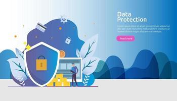 segurança e proteção de dados confidenciais. segurança de rede de internet vpn. conceito de privacidade pessoal de criptografia de tráfego com caráter de pessoas. página de destino da web, banner, apresentação, mídia social ou impressa vetor