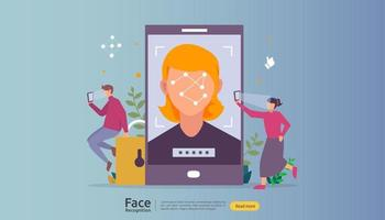 design de segurança de dados de reconhecimento facial. digitalização do sistema de identificação biométrica facial no smartphone. modelo de página de destino da web, banner, apresentação, mídia social, cartaz, anúncio, promoção ou mídia impressa. vetor