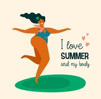 Corpo positivo. Happy plus size girl estão dançando. vetor