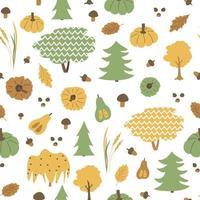 padrão sem emenda de árvores de outono. vetorial desenhada à mão lariço, salgueiro, amieiro, carvalho, folhas, bolota, abóboras, trigo, cogumelos, ilustração de elementos em fundo branco, estilo simples vetor