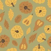 mão desenhada Outono folhas de carvalho, padrão sem emenda de abóboras. ilustração vetorial de halloween de amarelo pastel, elementos marrons em fundo verde, estilo simples vetor