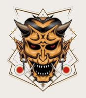 ilustração hanya. modelo de design de vetor de cabeça de diabo