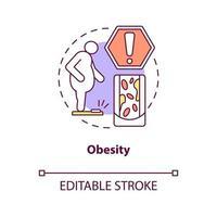 ícone do conceito de obesidade. muita gordura no corpo humano. problemas de excesso de peso. vaso sanguíneo apertando ilustração de linha fina de ideia abstrata. desenho de cor de contorno isolado vetor. curso editável vetor
