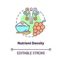 ícone do conceito de densidade de nutrientes. quantidade de nutrientes incluídos nos alimentos. qualidade das refeições. ilustração de linha fina de ideia abstrata de alimentação saudável. desenho de cor de contorno isolado vetor. curso editável vetor