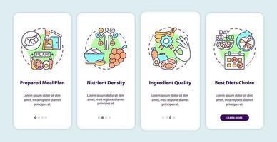 entrega de refeição para diabéticos na tela da página do aplicativo móvel. nutrientes passo a passo instruções gráficas de 4 etapas com conceitos. modelo de vetor ui, ux, gui com ilustrações coloridas lineares
