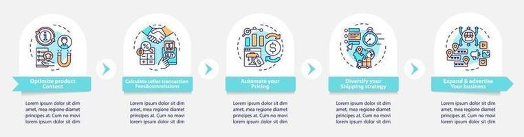 Modelo de infográfico de vetor de sucesso de e-marketplace. otimizar elementos de design de estrutura de tópicos de apresentação de conteúdo. visualização de dados com 5 etapas. gráfico de informações da linha do tempo do processo. layout de fluxo de trabalho com ícones de linha