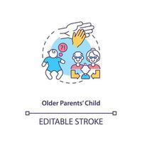 ícone do conceito de filho de pais mais velhos. ilustração de linha fina de ideia abstrata de fator de risco de autismo. efeito da idade parental. diagnóstico de asd em crianças. desenho de cor de contorno isolado vetor. curso editável vetor