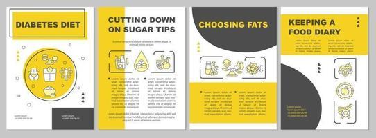 modelo de folheto de dieta de diabetes. escolher produtos com gorduras. folheto, livreto, impressão de folheto, design da capa com ícones lineares. layouts de vetor para apresentação, relatórios anuais, páginas de anúncios