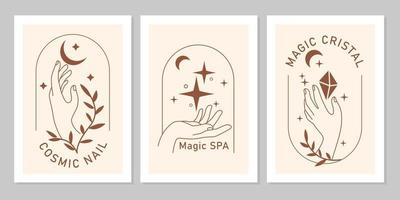 boho místico conjunto de mãos femininas elegantes com lua, estrela, planta, gema em linha de arte. símbolo mágico de vetor isolado em fundo bege. letreiros minimalistas da moda para design de cosméticos, joias, beleza