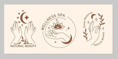 boho místico conjunto de mãos femininas elegantes com lua, estrela, planta, flor em linha de arte. símbolo mágico de vetor isolado em fundo bege. letreiros minimalistas da moda para design de cosméticos, joias, beleza