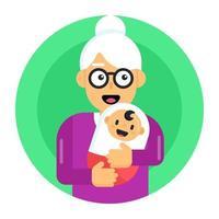 avó segurando bebê vetor
