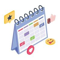 eventos e planejador vetor