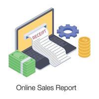 relatório de vendas online vetor