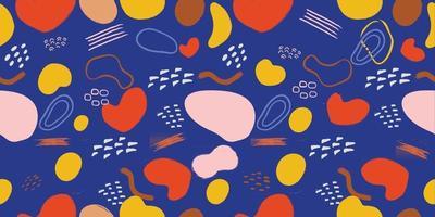 vetor de fundo sem emenda de arte abstrata. design de formas orgânicas de mão mínima desenhada para arte de parede, estampas, capa, pôster, padrão de tecido. ilustração vetorial.