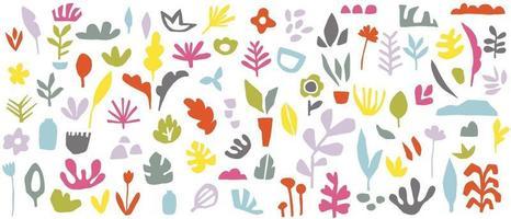 vetor abstrato com artes de linha natural e floral. padrão criativo com formas desenhadas à mão. design de plano de fundo para postagem, capa, impressão e papel de parede nas redes sociais