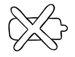 ilustração vetorial dos desenhos animados de bateria descarregada vetor