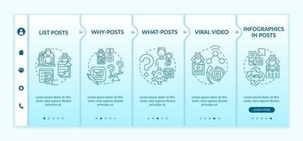 principais tipos de postagens envolventes modelo de vetor de integração. site móvel responsivo com ícones. passo a passo da página da web telas de 5 etapas. vídeo viral, por que e o que posta conceito de cor com ilustrações lineares