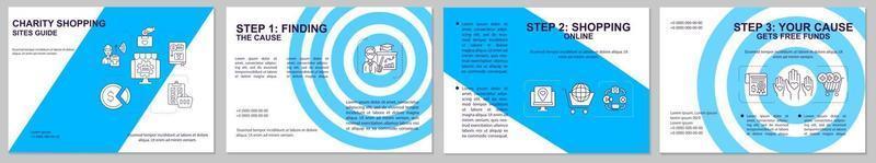 site de compras de caridade guia modelo de folheto. comprar online. folheto, livreto, impressão de folheto, design da capa com ícones lineares. layouts de vetor para apresentação, relatórios anuais, páginas de anúncios