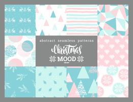 Natal e ano novo abstraem ornamentais sem costura padrões geométricos.