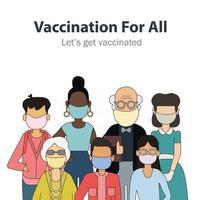 vacinação para pessoas de todas as idades vetor