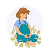 mulher grávida feliz tocando a barriga e admirando seu bebê. vetor
