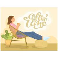 mulher relaxada bebendo café vetor
