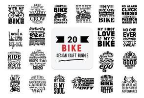 pacote de design de artesanato com citações de letras de bicicleta. vetor