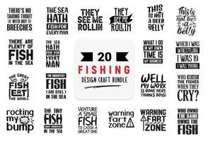 pacote de design de artesanato com citações de letras de pesca. vetor