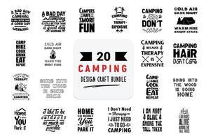 pacote de design de artesanato com citações de letras de acampamento. vetor