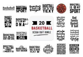 pacote de design de artesanato com citações de letras de basquete. vetor