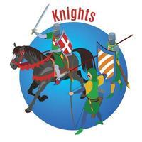 ilustração vetorial de fundo do círculo de cavaleiros medievais vetor