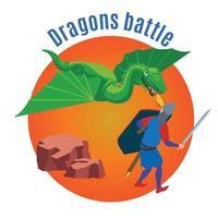 ilustração vetorial de fundo redondo de batalha de dragões vetor